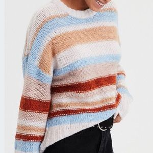 American Eagle Wool Blend Striped Crew Sweater